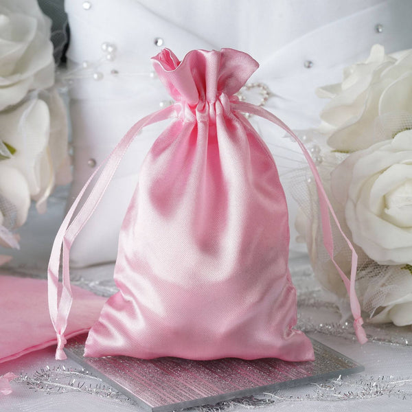 "12 Pack | 4""x6"" Pink Satin Party Favor Bags 