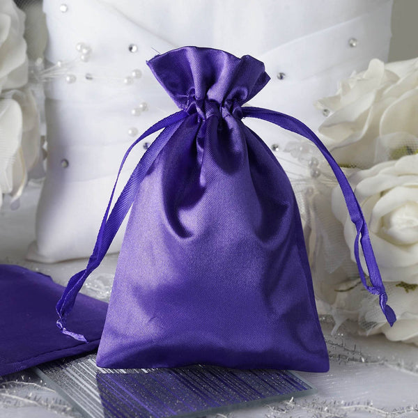 "12 Pack | 4""x6"" Purple Satin Party Favor Bags 