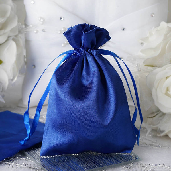 "12 Pack | 4""x6"" Royal Blue Satin Party Favor Bags 