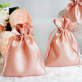 "12 Pack | 5""x7"" Dusty Rose Satin Favor Bags Party Drawstring Pouches"