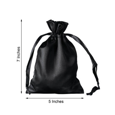 "12 Pack | 5""x7"" Black Satin Favor Bags Party Drawstring Pouches"