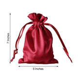 "Pack of 12 | 5""x7"" Burgundy Satin Favor Bags Party Drawstring Pouches"