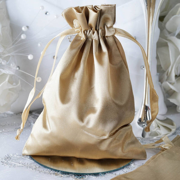 "Pack of 12 | 5""x7"" Champagne Satin Party Favor Bags 
