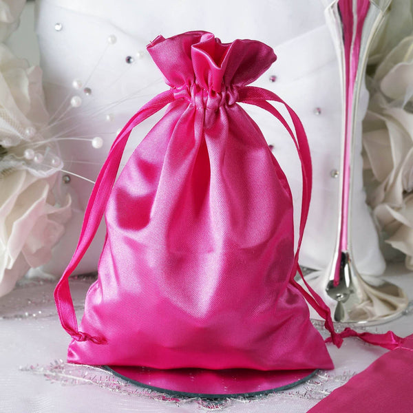 "Pack of 12 | 5""x7"" Fuchsia Satin Party Favor Bags 