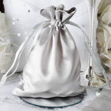 "5 x 7"" Silver Satin BagsFavor Bags 