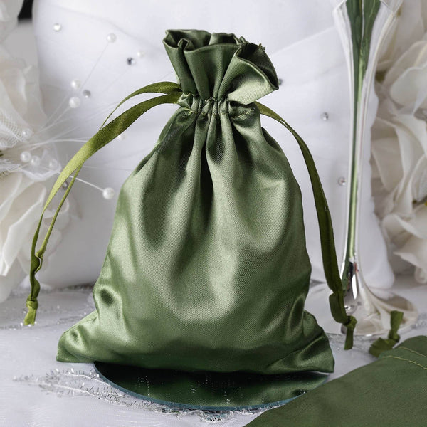"Pack of 12 | 5""x7"" Moss Green Satin Party Favor Bags 