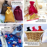 "Pack of 12 | 6""x9"" Burgundy Satin Party Favor Bags 