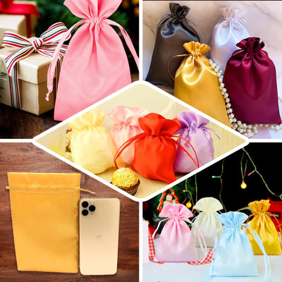 "Pack of 12 | 3""x4"" Yellow Satin Party Favor Bags 
