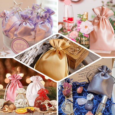 "Pack of 12 | 6""x9"" Dusty Rose Satin Favor Bags Party Drawstring Pouches"