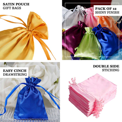 "Pack of 12 | 3""x4"" Ivory Satin Party Favor Bags 