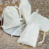 "25 Pack | 2""x3"" Ivory Velvet Favor Bags Party Drawstring Pouches"