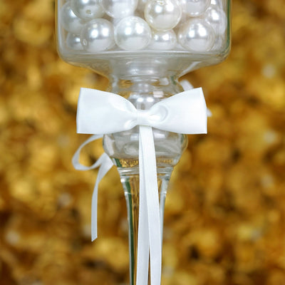 "2"" Tall 2 Pcs Bow Ribbon White Bands For Votive Candle"