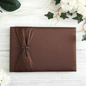 Chocolate Double Heart Handcrafted Guest Book