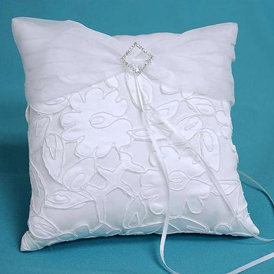 "7"" White Satin Rhinestone Studded Ring Bearer Pillow - Clearance SALE"