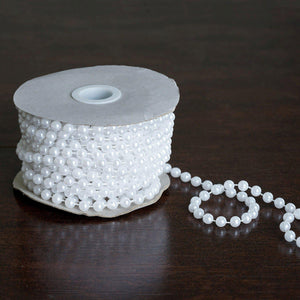 6mm Pearls / Embellishment - White 12 Yards Strand