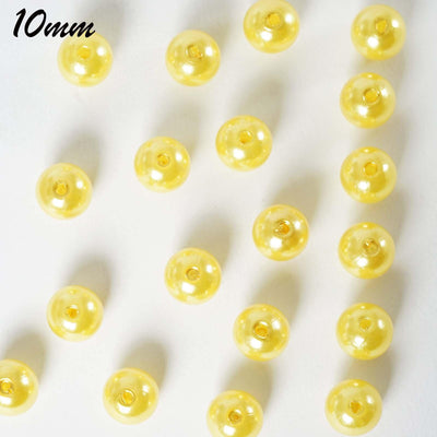 10MM  Wedding Faux Pearl Beads Garland Vase Filler Flower Centerpiece Table Decoration - Yellow - 1000 PCS
