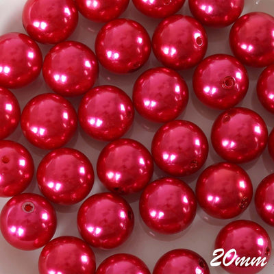 20MM BIG Wedding Faux Pearl Beads Garland Vase Filler Flower Centerpiece Table Decoration - Red - 120 PCS