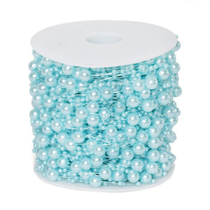 62 FT Serenity Blue Pearl Garland String for Wedding Bridal Corsages Decorations