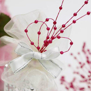144 PCS Red Pearl Beads Wire Stems