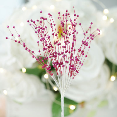 144 PCS Burgundy Pearl Beads Wire Stems