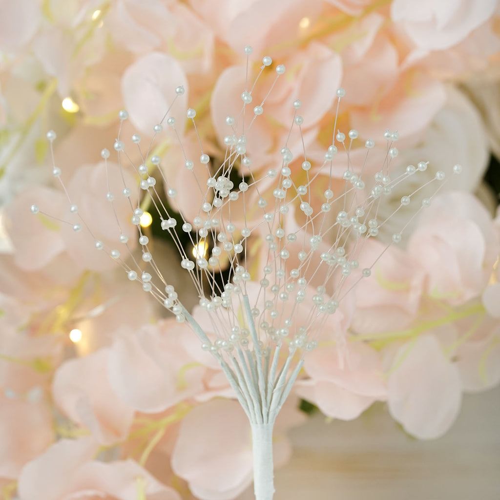 144 Pcs Ivory Pearl Beads Wire Stems Tablecloths Factory