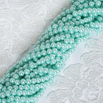 9 YARD 8mm Faux Pearl Bead Strands Garland Wedding Party Table Top Decoration - Serenity Blue - 10 Strands