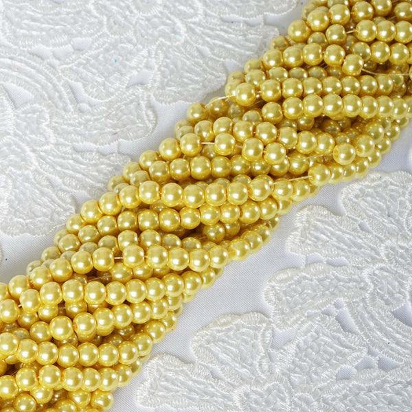10 Pack | 8mm Large Yellow Faux Pearl Beads