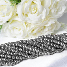 9 YARD 8mm Faux Pearl Bead Strands Garland Wedding Party Table Top Decoration - Silver - 10 Strands