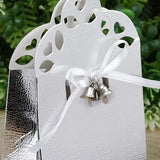 Set of 24 | Silver Wedding Favor Bells | Mini Kissing Wedding Bells | Cowbell Party Decoration with Attached Ribbon
