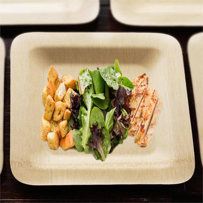 "10 Pack 9"" Sleek Bamboo Disposable Square Dinner Plates"