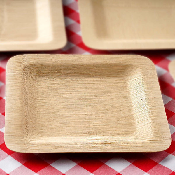 "10 Pack - 9"" Eco Friendly Sleek Bamboo Disposable Square Dinner Plates"