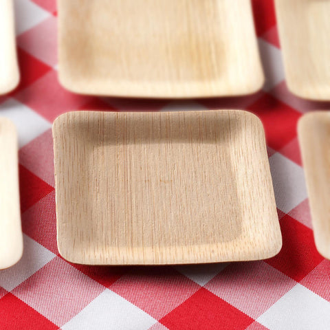 25 Pack - Sleek Bamboo 3.5  Square Plates & 25 Pack 4