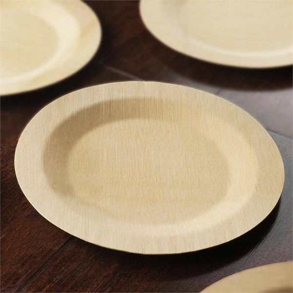 10 Pack 11  Sleek Bamboo Disposable Round Dinner Plates & 10 Pack 11