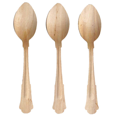 "100 Pack 8"" Natural Disposable Birchwood Spoons"