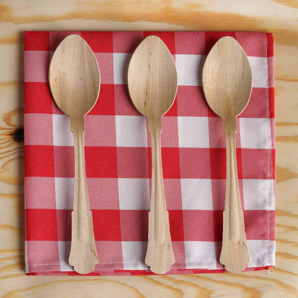 "100 Pack - 8"" Eco Friendly Natural Disposable Birchwood Spoons"