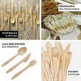 "100 Pack - 7"" Eco Friendly Disposable Birchwood Knives"