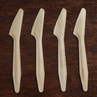 "100 Pack 8"" Eco-friendly Birchwood Long Handled Disposable Knives"