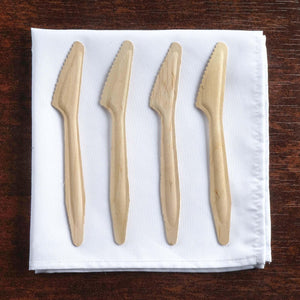 100 Pack - Eco-friendly Disposable Birchwood Long Handled Knives
