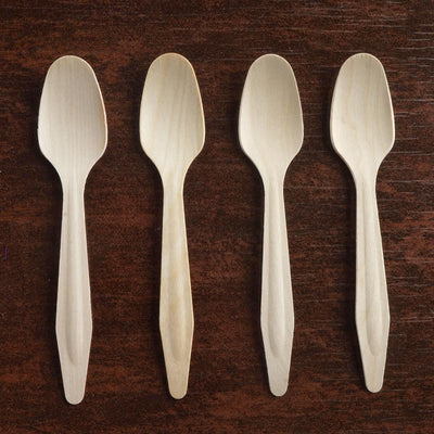 "100 Pack 7"" Eco-friendly Disposable Birchwood Long Handled Spoons"