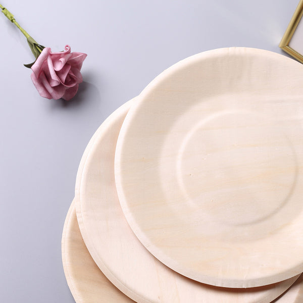 "25 Pack - 9"" Eco Friendly Birchwood Round Dinner Plates, Compostable Plates"