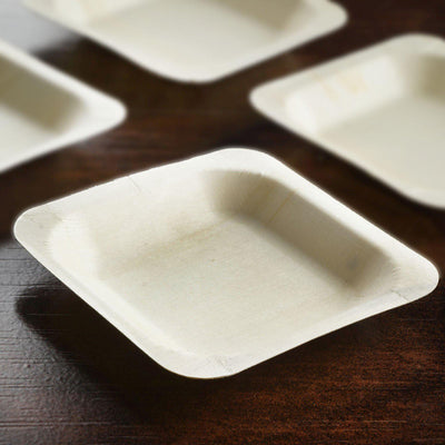 "25 Pack - Eco-friendly Birchwood 4.5"" x 4.5"" Square Plates"