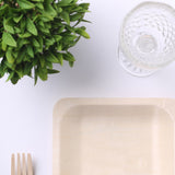 "25 Pack 6"" Birchwood Disposable Square Salad Dessert Plates"