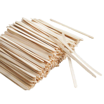 "1000 Pack 4"" Eco-friendly Birchwood Classic Rounded Disposable Coffee Stirrers"