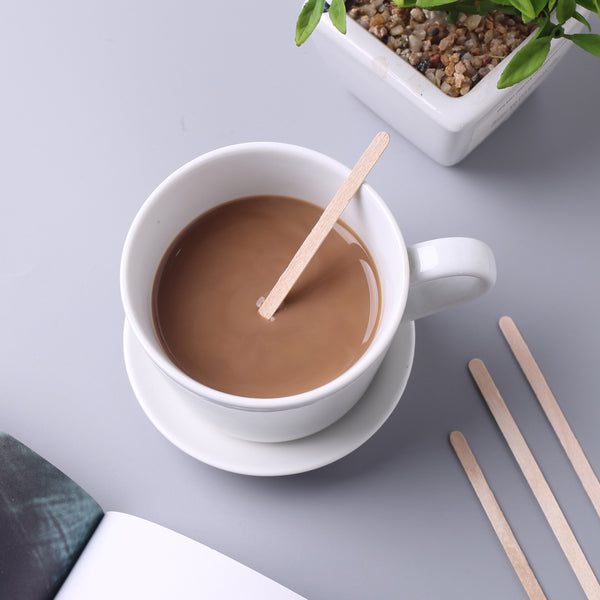 "1000 Pack - 4"" Eco Friendly Birchwood Classic Rounded Disposable Coffee Stirrers"