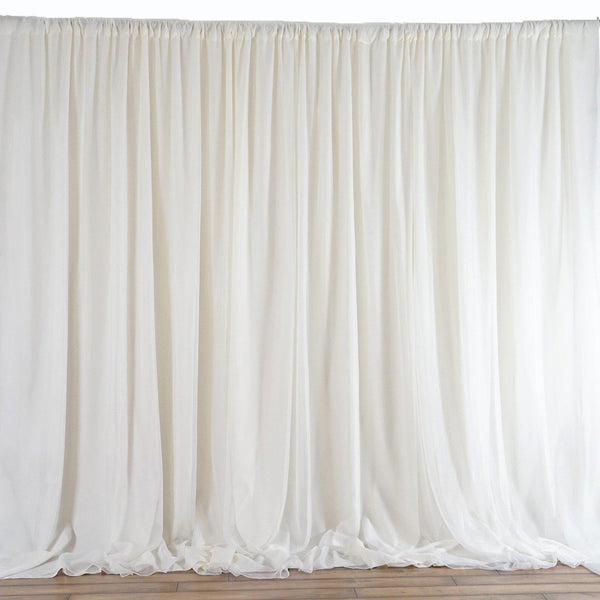 20FT x 10FT Ivory Double Layer Polyester Chiffon Backdrop With Rod Pockets