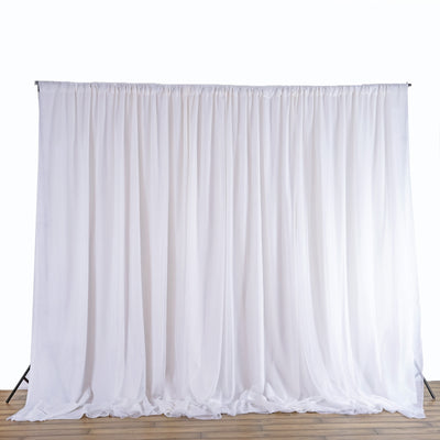 20ft x 8ft White Dual Layer Chiffon Polyester Backdrop Curtain