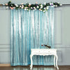 8 FT Serenity Blue Sequin Curtains | Photo Booth Backdrop | Photography Backdrops With Rod Pocket