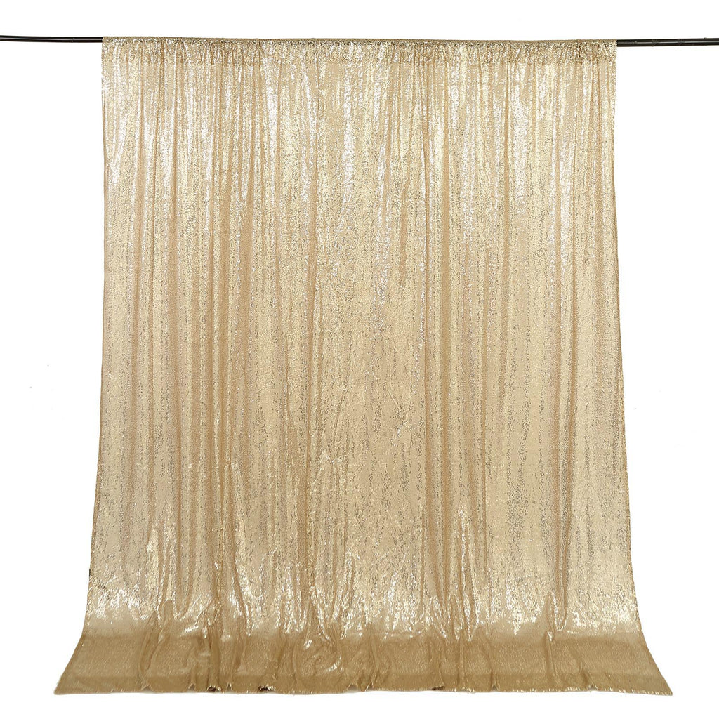TRLYC 4 by 8Ft Sparkly Champagne Christmas Sequin Backdrop Curtain for Wedding Party
