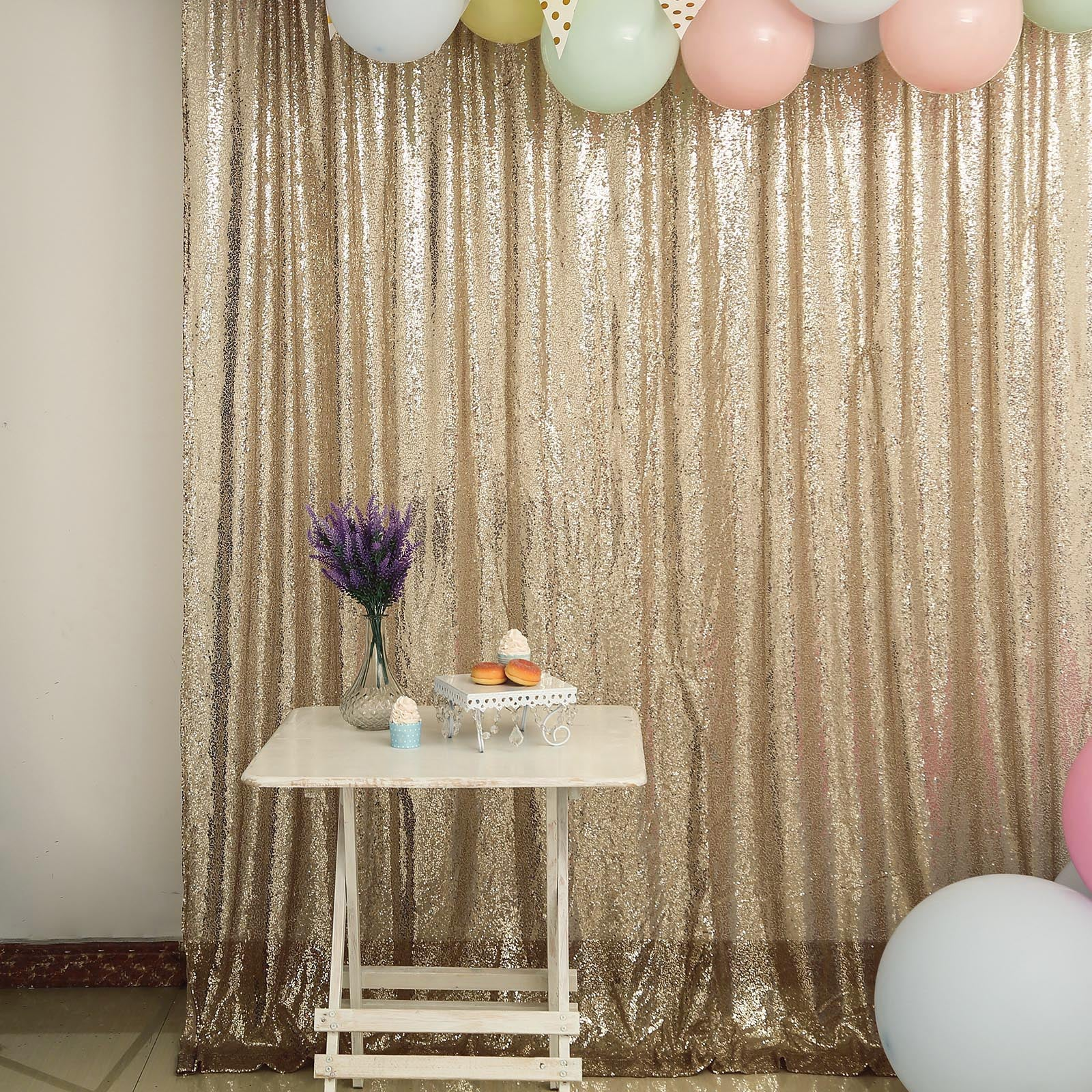 TRLYC 8Ftx8Ft Shimmer Ceremony Background Champagne Sequin Party Wedding Photo Booth Backdrop Curtain
