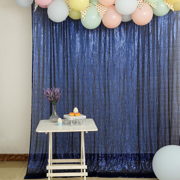 8Ft H x 8Ft W Navy Blue Sequin Curtains | Photo Booth Backdrop With Rod Pocket